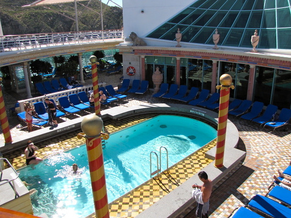 """We showed you some footage of the """"Solarium"""" earlier... here's a shot of it from the deck above... as we said, a very serene place to enjoy some quiet time while catching some sun, taking a dip in the Pool, etc."""