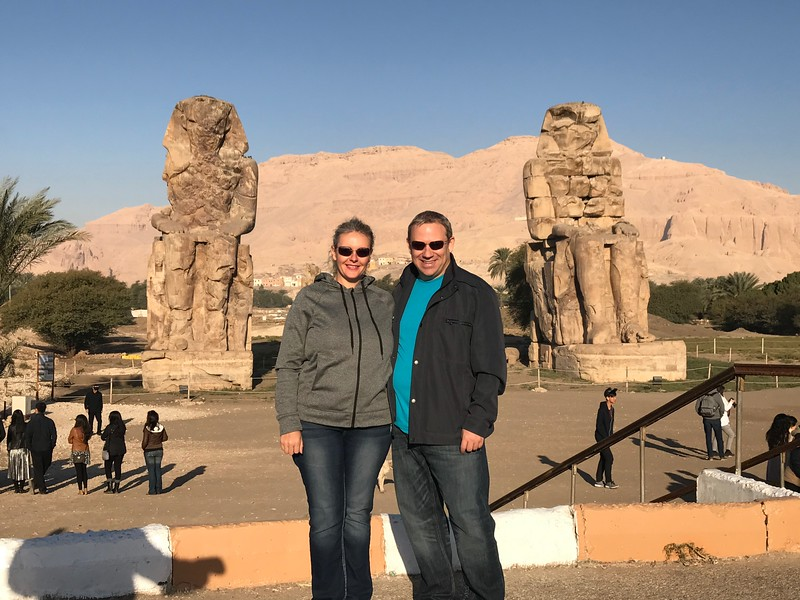 "Check out the ""Colossi of Memnon"" which are two gigantic statues of Pharaoh Amenhotep III that have stood in that spot since 1,350 BC... WOW! :-)"