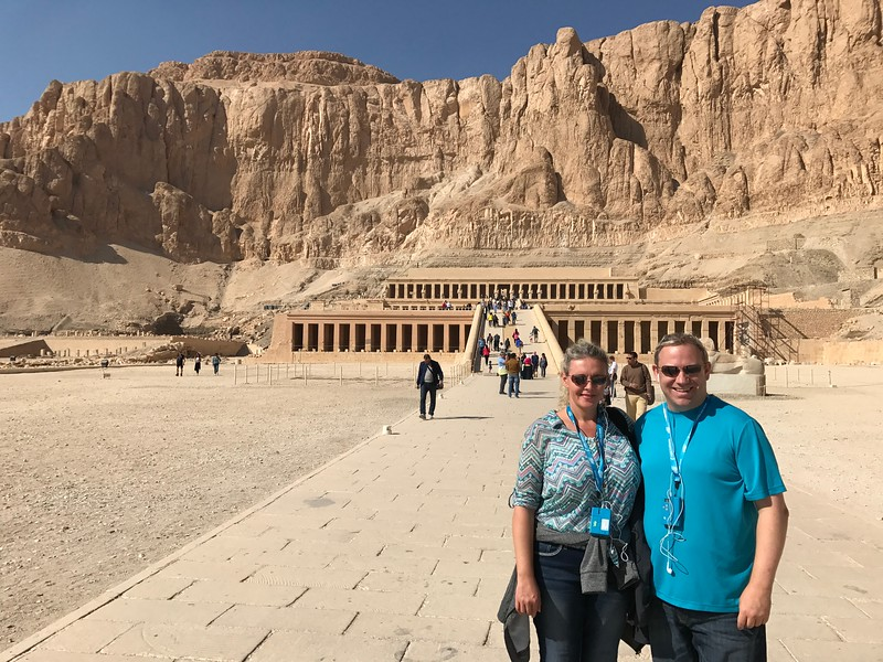 """Right around the corner from the Valley of the Kings was """"Queen Hatshepsut's"""" Temple... we know we keep saying this but Egypt is truly one impressive site after another, after another!"""