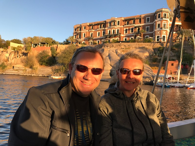 "Of course Uniworld made sure we got to ride in one ourselves... one of the sites we saw during our ride was the ""Old Cataract Hotel Aswan"" on the hill behind us, made famous from being featured in Agatha Christie's ""Death on the Nile"" novel."