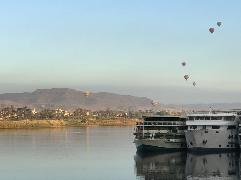 The next morning when we awoke in Luxor we saw this site outside our ship's windows... apparently Hot Air Ballooning in Luxor is pretty popular! :-) If that's your thing 6 guests from our ship did this the next morning for $120 per person and they said it was pretty fabulous!!