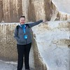 "Well, here it is, our last day in Egypt and for sure the highlight of our time in this scenic country... we made it... to the ""Great Pyramids of Giza""!! :-)<br /> <br /> There's Nancy showing just how massive each stone is that make up the building blocks of these famous structures!"