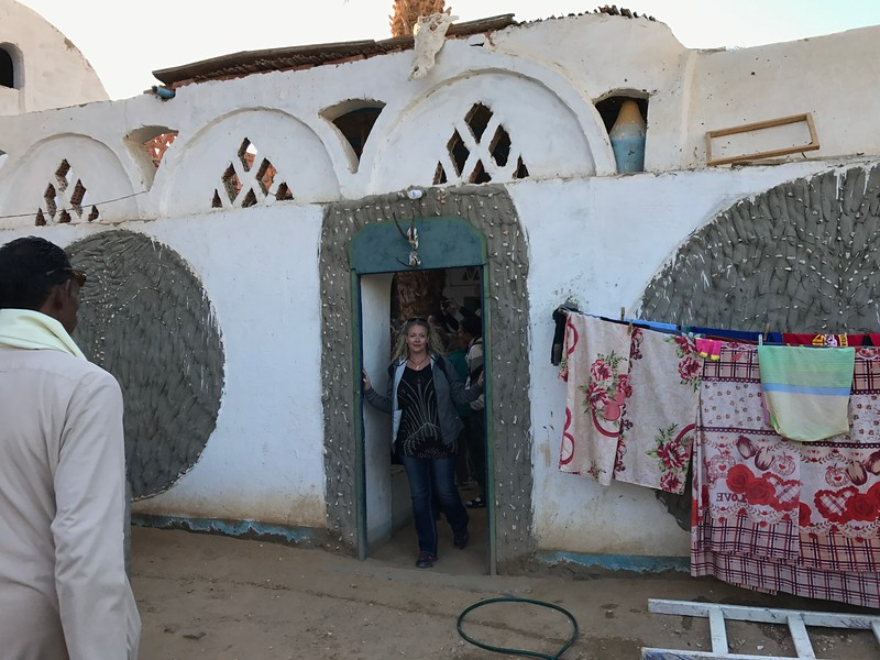 But again the highlight was visiting a local Nubian family's home... there's Nancy checking it all out as she enters their home.
