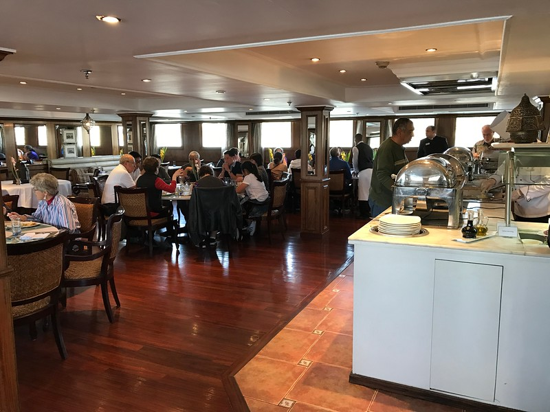Besides having a great room, there was also some excellent food onboard!<br /> <br /> Above is a peek into the dining room where you'll enjoy breakfast, lunch & dinner daily and as you can see by the windows you can still see the World going by as you fill your tummy! :-)