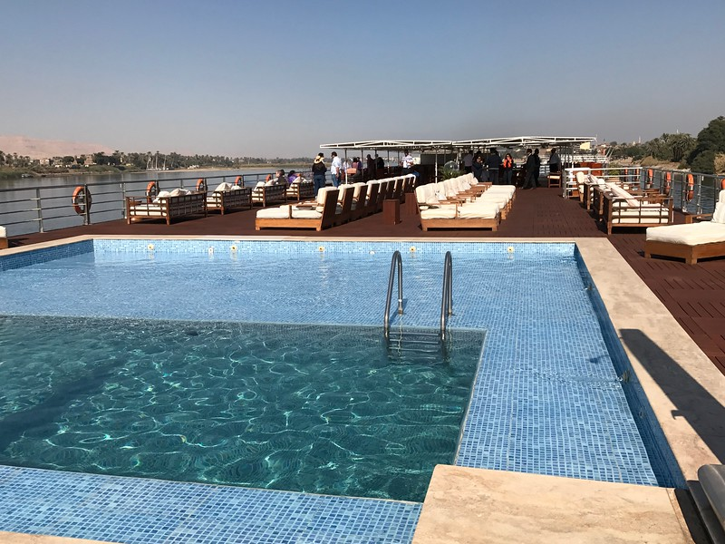 The top sun deck & spacious pool are great places to hang out if you want to enjoy 360 degree views of the Nile River as you sail.