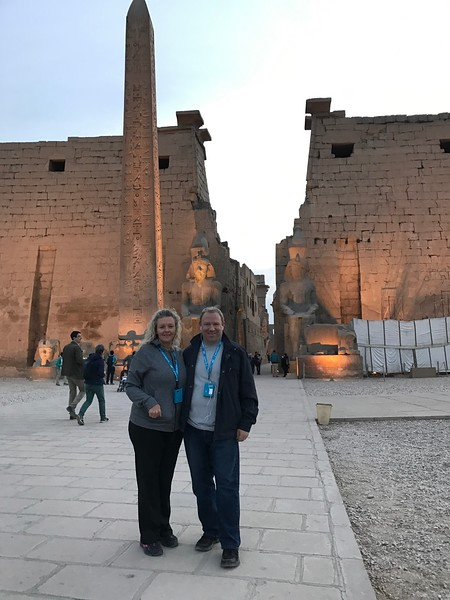 "For our first tour in Luxor we visited their UNESCO World Heritage designated ""Luxor Temple""... it's most impressive at sunset which is when we visited there... the entrance to the temple behind us was absolutely stunning!"