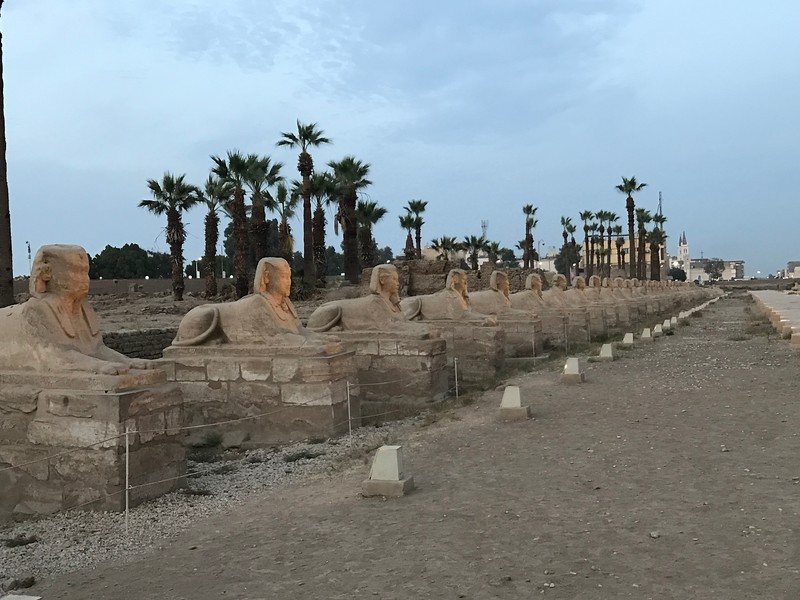 """A really cool site at the Luxor Temple is what remains of the """"Avenue of the Sphinx"""" which connected the Luxor Temple to Luxor's other famous """"Karnak Temple"""" which is 1.7miles/almost 3kms away!"""