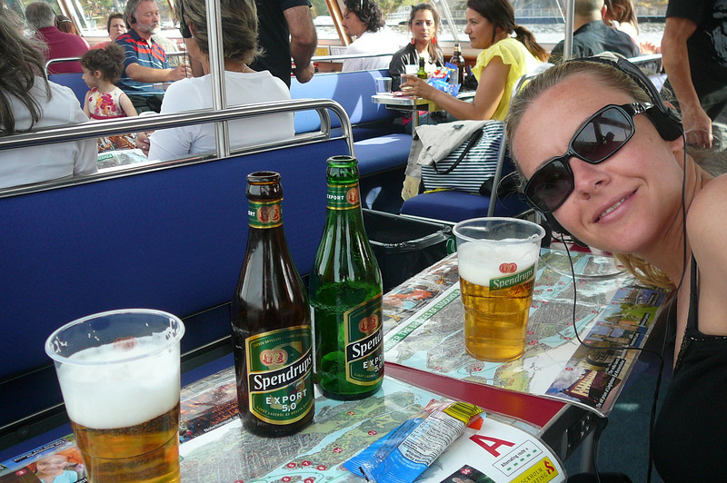 As in Copenhagen and St. Petersburgh we took a Canal ride in Stockholm too... definitely a great way to see these Cities surrounded by Water!! There's Nancy sampling a local Swedish Beer as we enjoy the day. :-)
