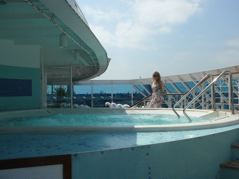 """There's Nancy checking out the Adults Only Thallasotherapy pool at the front of the 694 guest """"Journey""""... a great place to spend a Sea Day!!"""