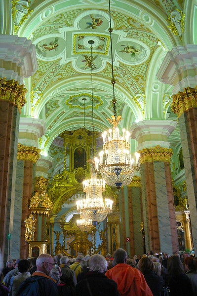 "There's a glimpse of ""The Cathedral of SS Peter and Paul Church"" inside Peter & Paul's fortress."