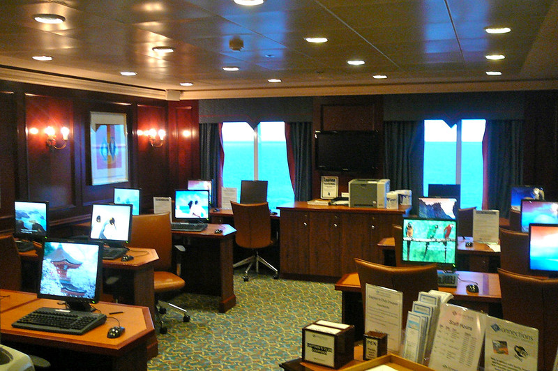 For those of you who are addicted to being online, no worries, you can stay connected while at Sea. FYI, Internet onboard Ships is all done through Satellites so don't expect to have the same high speeds you're used to and it costs much more then on land... usually $.35-$.70/minute depending on Cruiseline.