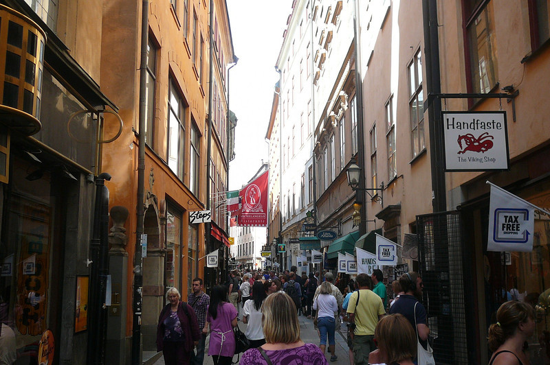 "Here's a view of some of the Shopping allies in ""Gamla Stan"" in Stockholm... a great people watching area and place to have a nice lunch in a local cafe!"