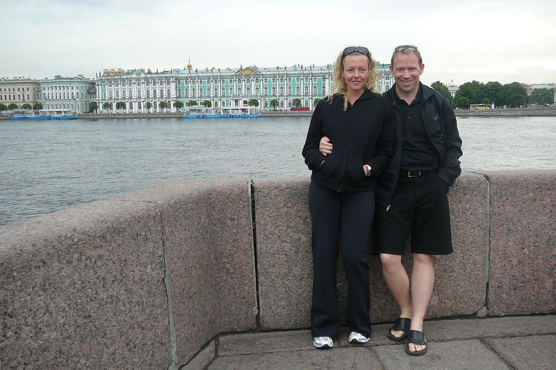 """Here we are getting our first glimpse of the Famous """"Hermitage"""" Museum in St. Petersburg, Russia. We were in China 3 weeks ago and now we're in Russia... not bad for 2 """"Newfies"""" who'd never been outside of North America before this year. :-)"""