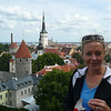 There's Nancy overlooking the Beautiful town of Tallinn... if you look closely you can ship the ships in the background to the left of the Church Tower... talk about convenient... not all, but many of Europe's Northern Ports are like this where everything is in close walking distance.