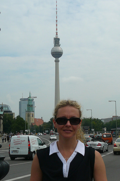 "We know it was only a few weeks ago that Nancy was standing in front of the ""Pearl Tower"" in Shanghai but don't get mixed up, this isn't the same pic... Berlin has a ""Pearl Tower"" look-a-like of it's own... the ""Fernsehturm"". :-)"