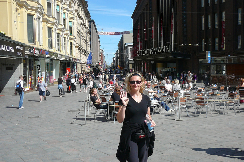 "No idea what the name of it was but Helsinki has a really cool ""pedestrian only"" Shopping Street... there's Nancy getting ready to check it out!! :-)"