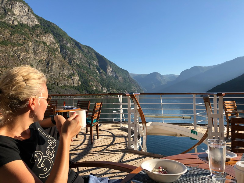 """Our next port stop was in Flåm, Norway... as you can see from Nancy's view at Breakfast at the back of """"Serenity"""", the scenery as we made our way into port was truly breathtaking!!"""