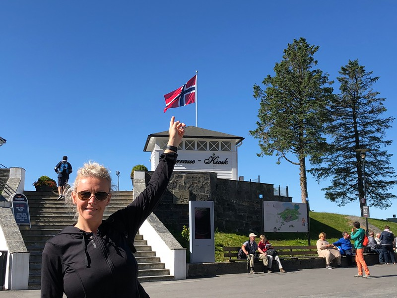 "There's Nancy showing, ""Yep"", we're in Norway!! :-)"
