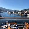 """After enjoying a day at Sea for the 1st day of our sailing (as our Cruise started/ended in London we had a nice relaxing """"Sea Day"""" at the start & end of our Cruise which is the best way to do it!) our 1st port stop in Norway was in Bergen... as you can see from our breakfast table on the back deck of the Serenity we had a pretty scenic """"first taste"""" of this Beautiful country!! :-)"""