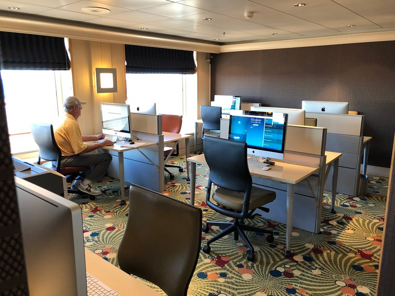 """Of course most people travel with their smartphone/tablet/lap-top, etc. these days so can access the FREE onboard Wifi from their room, at """"The Bistro"""", etc. but for those without a device Crystal has super nice """"iMacs"""" available to help you stay in touch. <br /> <br /> Did you know Big/Mass-Market Cruise ships charge $30/day on average for Wifi!! :-( But again, it's FREE on Crystal!!"""