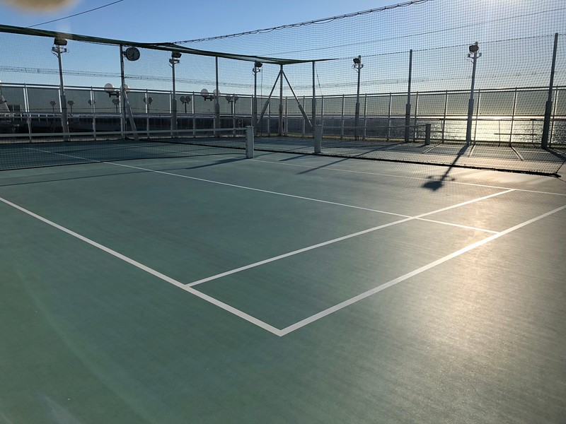 """Up on the very top deck there's the """"Wimbledon Court"""" paddle/tennis courts... talk about a great location to get some exercise/a little fun time in!! :-)"""