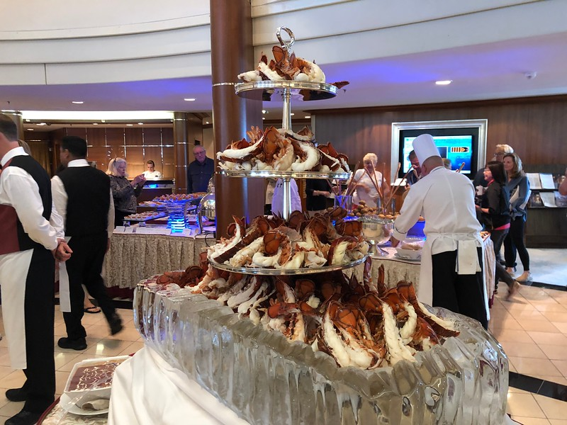 """""""Tricked You""""... we're not done with food yet!! :-)<br /> <br /> During our sailing in the Atrium they had a """"Crystal Gala Buffett"""" for lunch one day which was for sure a culinary highlight of our trip.<br /> <br /> As you'll see from this """"Lobster Tower"""" and our next several pics this """"Gala Buffett"""" was pretty Fabulous!! :-)"""