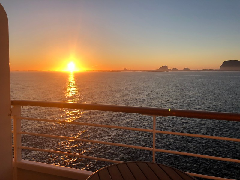 BUT, as always, if a Veranda room is in your budget definitely book one if available as you'll get to see Sunsets like this from the privacy of your room as well as Glaciers, Fjords, Waterfalls, etc. when in places like Norway!!
