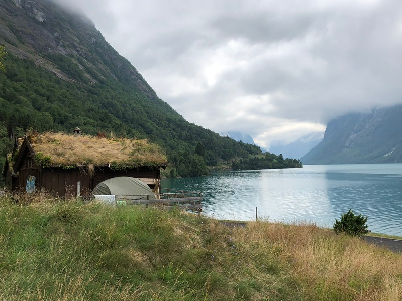 """There's one of the may traditional """"Grass Covered"""" homes we saw during our time in Norway... cute, right! :-)"""