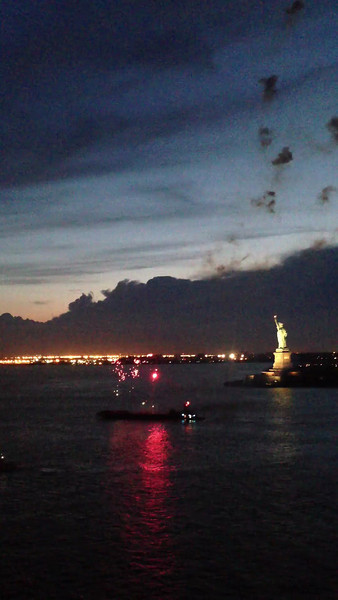 As our sailing was the 1st time ever Breakaway sailed from New York we got a special treat with a fireworks display right in front of Statue of Liberty... doing an Inaugural & Christening Cruise is definitely a pretty cool event!! :-)