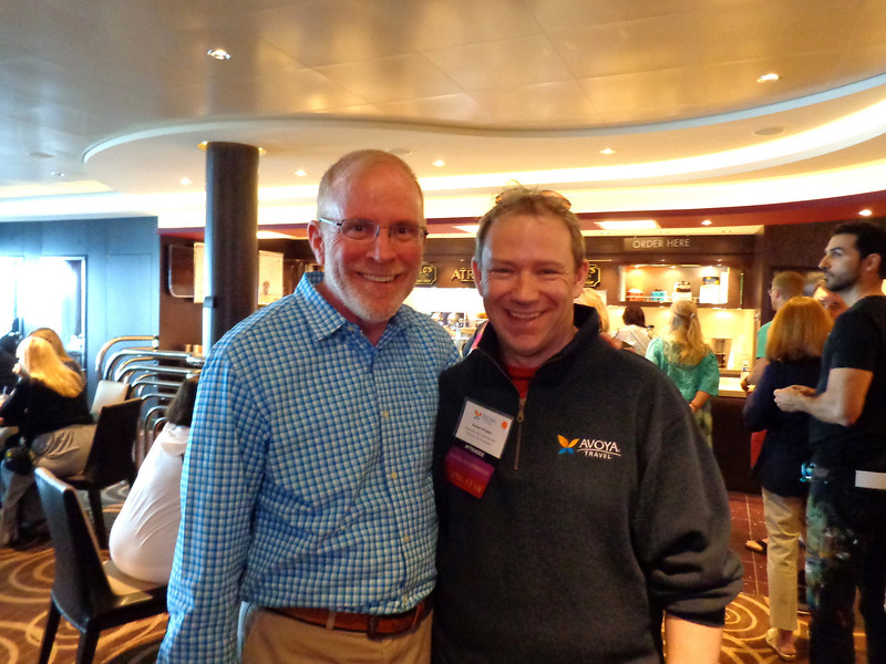 """Do you watch CBS' """"Undercover Boss""""? If so, you'll know this face... there's Shawn with Norwegian Cruiseline's CEO Kevin Sheenan."""
