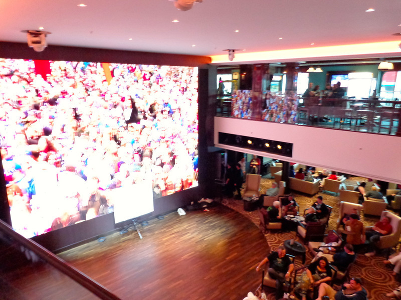 "Right in the middle of ""O'Sheehan's"" is a 2 story atrium with a 2 story screen to go along with it... a very cool place to watch a game, a concert, to play Wii on, etc."
