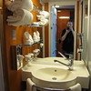 "If you've cruised before, you know the bathrooms on Cruise ships can be really, really tiny! :-) Well, here's a ""Live"" look at a bathroom on the ""Pearl"" which shows have they have a unique set-up which makes it a little more roomy."