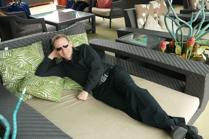 "There's Shawn enjoying the ""daybed"" style loungers in the pool area... they were also up in Spinnaker Lounge and in ""Bliss"" Night Club. They were great!! :-)"