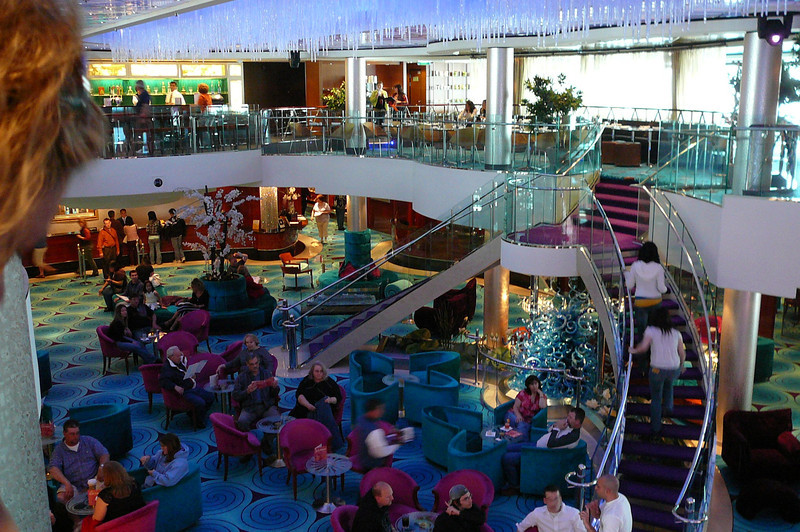 "The ""Pearl"" has a great Atrium in the Heart of the Ship where you can eat, shop, relax, have a drink, mingle with fellow passengers, etc. all within a stones throw."