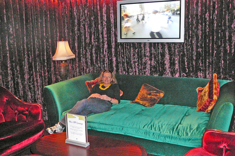 "Nancy enjoying one of the comfy sofas in the ""VIP"" area of ""Bliss Ultra Lounge"". This is definitely the Coolest nightclub at Sea!!"