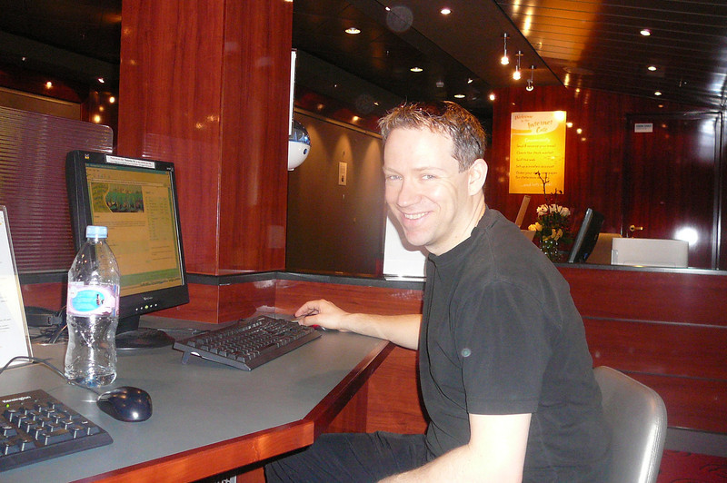 "Only 2 days away from home & Shawn still couldn't stay offline checking out Cruise sites. Looks like he's got up the Itinerary of the ""Norwegian Gem's"" Dec 13th sailing that we're eyeing. :-)"