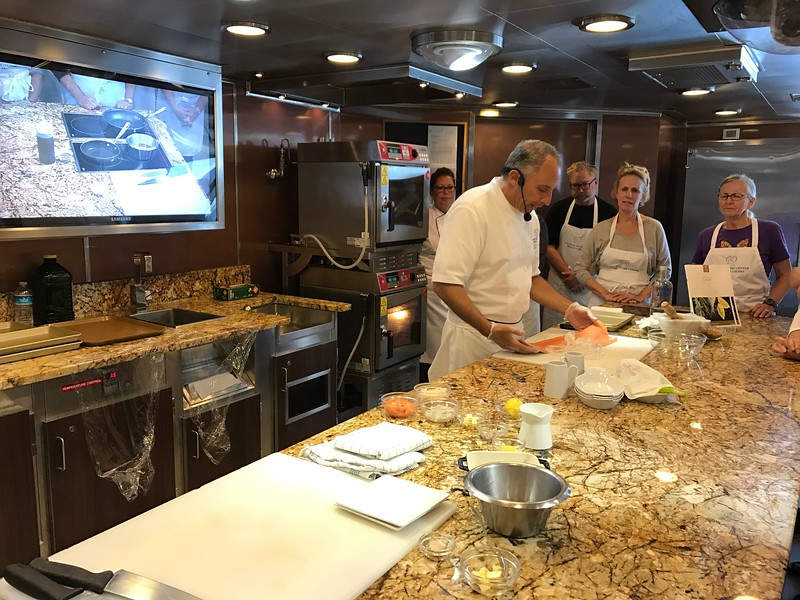 """Oh ya, not only do you get to eat & eat & eat onboard Oceania Marina but they also offer cooking classes if you want to learn how to prepare some of this yummy food! :-)<br /> <br /> Nancy did their """"Fish Mastery"""" class and had a great time!!"""