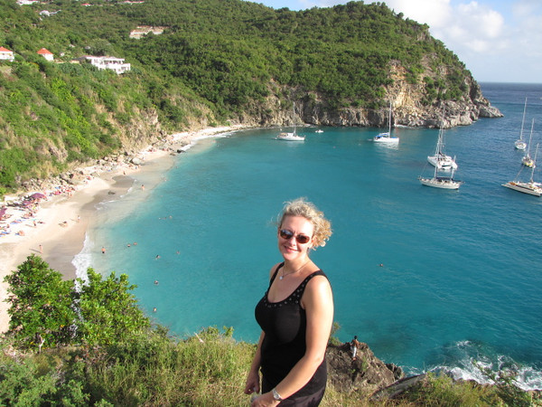 There's Nancy looking down on Shell Beach from a Fort upon a hilltop in Gustavia... St. Barths main town. As you can see, the beaches, water, homes & landscape are all beautiful there.