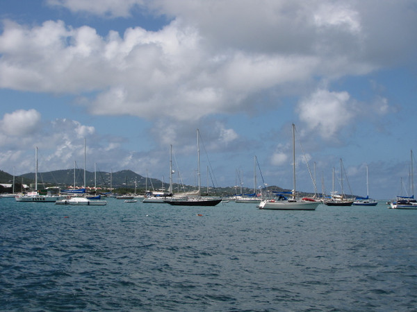Our 2nd port stop was in St. Croix... one of the three US Virgin Islands. Here's a look at the harbor in St. Croix's main town, Christensted... as you can see, having a boat is popular there. :-) No wonder with their gorgeous year-round weather!
