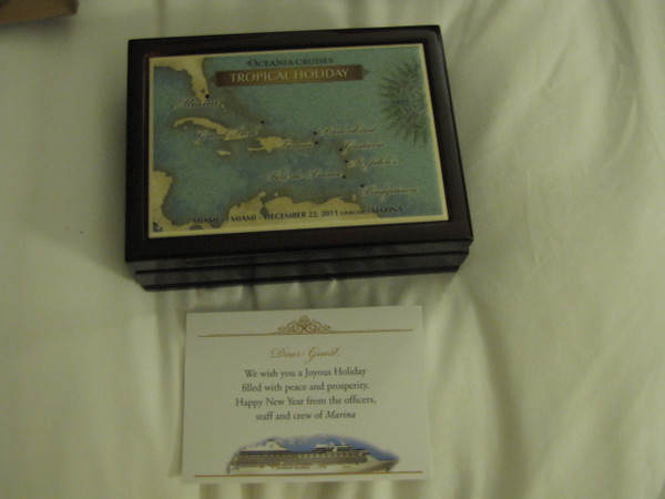 "It was a super nice ""memories"" box with our itinerary, date of sailing, etc. engraved onto it... a very cool Christmas gift!"