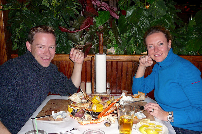 """What a great ending to the day... the famous """"SeaFeast"""" at the """"Crab Pot"""" restaurant at Pier 57 in Seattle... don't leave Seattle without having a Seafood feast there!!"""