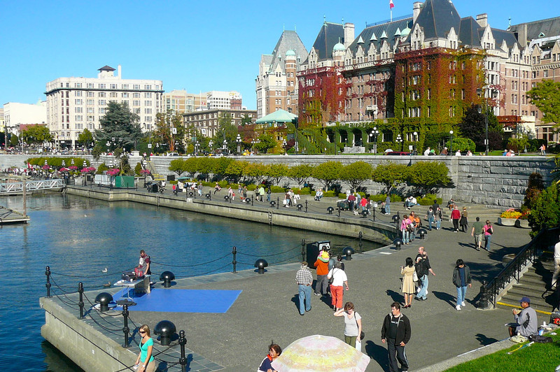 """As you can see, right in front of the """"Empress"""" there's a great little boardwalk along Victoria's Harbor where vendors set up and you can Shop and enjoy great days like today!"""