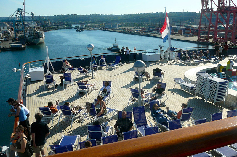 "There's a great area to relax on the ""Oosterdam""... near the ""Sea View"" pool at the Aft of the Lido Deck, Deck 9.  A great place for days like today!!"