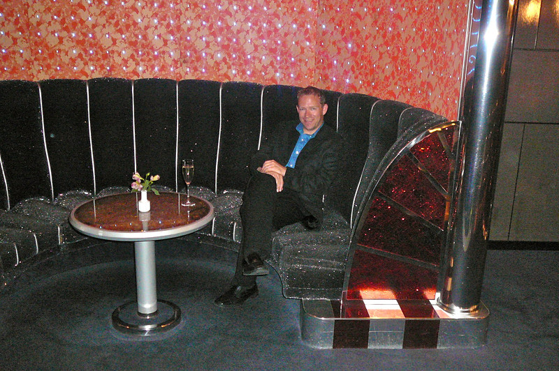 """There's Shawn enjoying a glass of Champagne in the Nightclub before we head out to the """"Welcome Aboard"""" show."""