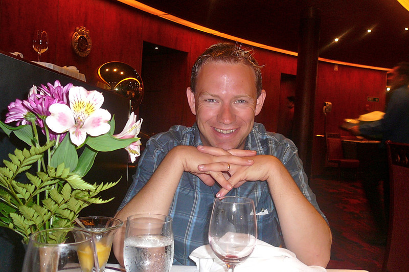 """Well, Dinner is over and by Shawn's smile it definitely looks like it was another great meal... Fine Dining meals served """"a la carte"""" every-night during your Cruise at no extra charge... how about another """"awe... the Cruising Life""""! :-)"""