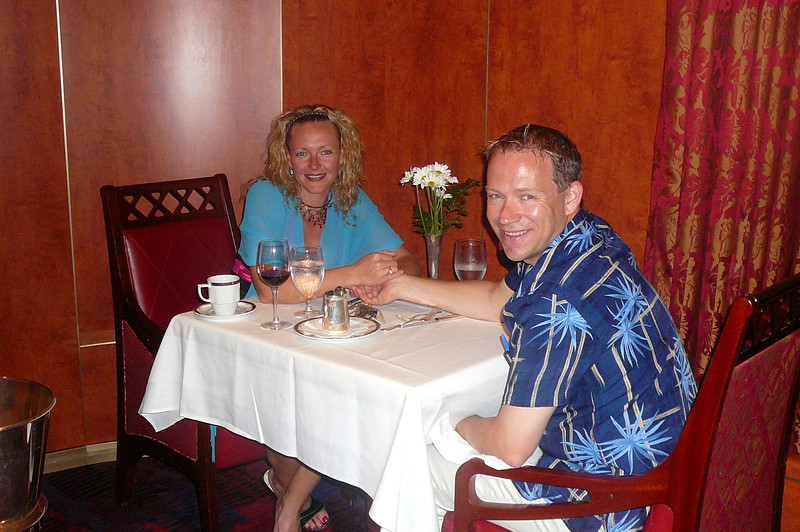 "For our last night we had a nice private corner table in the ""Vista Dining Room""... what a great way to enjoy our final meal of our 17 out of 20 night, 1st Anniversary Celebration, Cruising Adventure that we experienced in September, 2008. :-)"