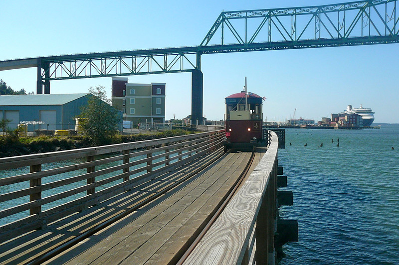 There's the cute little Trolley that runs between the Cruise Port & Downtown... a great transportation method for around $5!