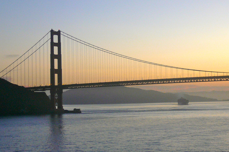 "There's a closer look at her... the ""Golden Gate"" Bridge... a pretty spectacular site... especially when sailing under her on a Luxurious Cruise Ship!!"