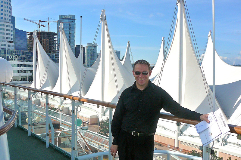 "There's Shawn enjoying a Beautiful day in Vancouver while aboard the ""Norwegian Star"".  For those of you who've Cruised from/to (or visited) Vancouver you'll recognize the ""Sails"" at the Cruise Port at ""Canada Place""."