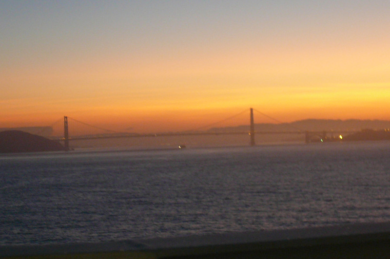 Here we are making our first ever visit to San Francisco... we're excited!!  So excited we got up with the Sun at around 6am to enjoy the views as we sailed into the City and under their Famous Bridge.